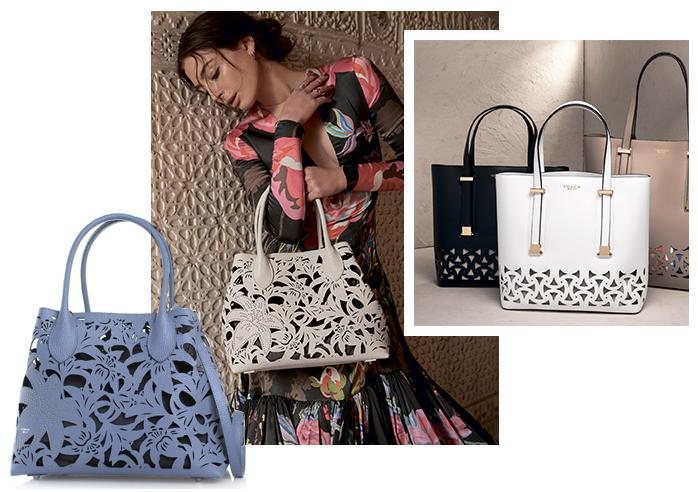 Отдельная изюминка в этой коллекции - двойные сумки, где есть наружная  часть с красивой перфорацией и внутренняя независимая текстильная часть на  замке. 51fe0614d13